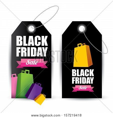 vector Black Friday sales tag or label . Black Friday sale poster or background