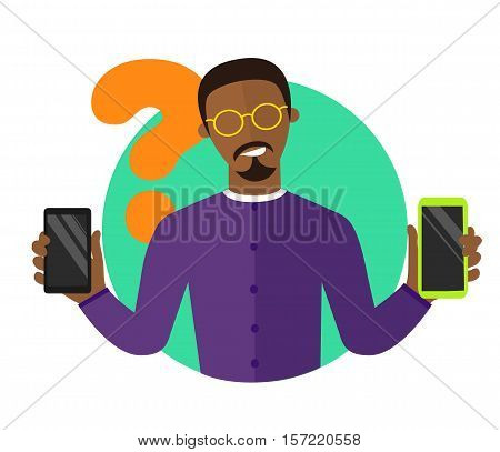 Mobile selection flat design illustration black man choosing smartphone isolated vector sign synchronization icon