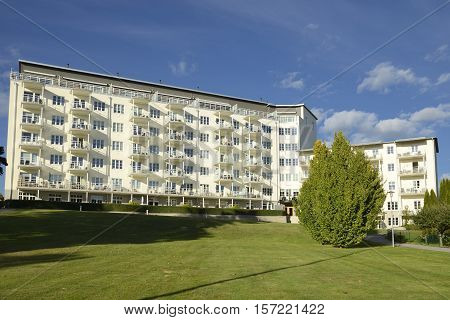 Apartments buildings with blue sky in Nynashamn - Sweden.