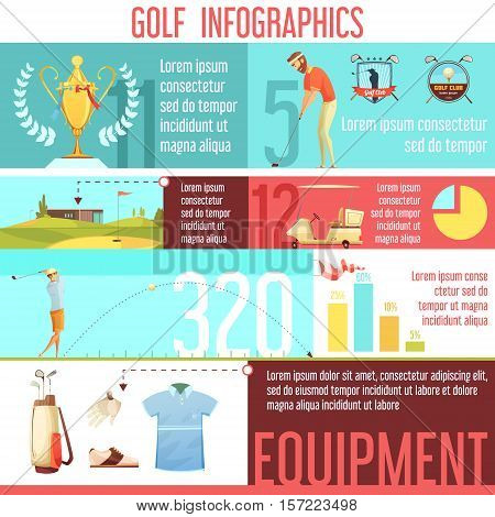 Golf sport popularity by country in worlds statistics and best equipment choices infographic retro cartoon poster vector illustration