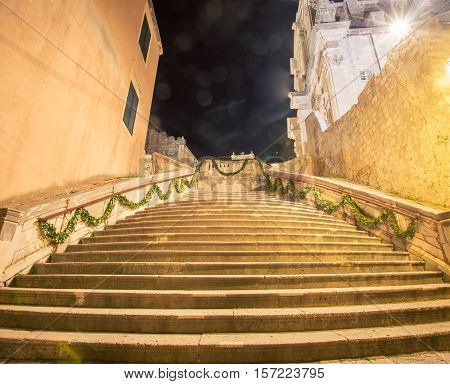 Stairs at night in the walled town of Dubrovnik