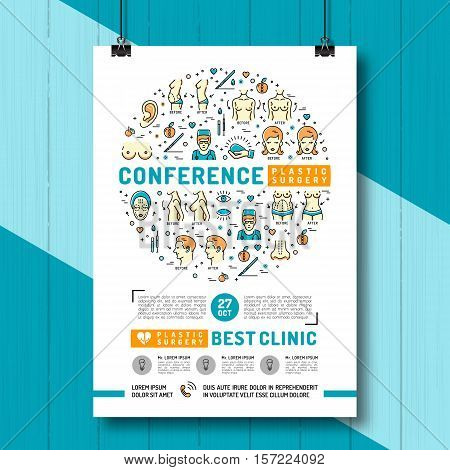 Medical poster of the conference and exhibition of Plastic Surgery. Medical linear icons: breast augmentation, liposuction, face and body cosmetology. Vector concept Health and Beauty