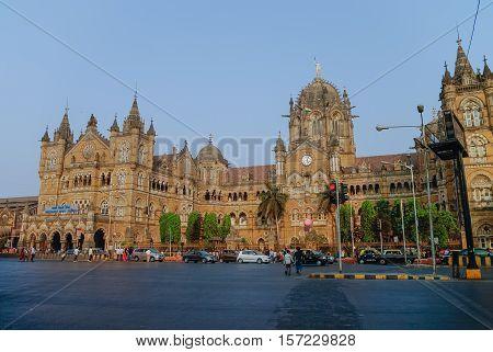 Mumbai, India - January 1, 2012: Chhatrapati Shivaji Terminus (CST) is a UNESCO World Heritage Site and an historic railway station in Mumbai India