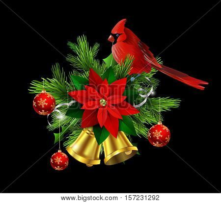 Christmas decoration with evergreen trees and golden bells with poinsettia and Cardinal bird
