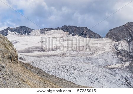Glacier in Mountain - View from Zillertaler Alpen - Border of Austria and Italy