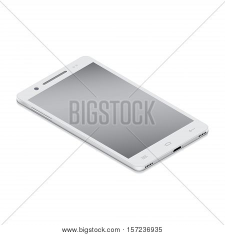Realistic white smartphone cellular in isometry on a white background. Vector illustration.