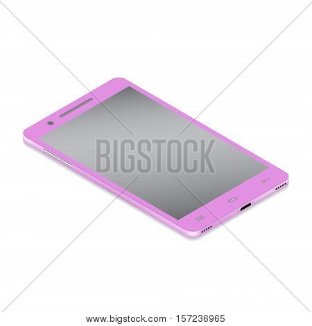 Realistic glamor pink smartphone cellular in isometry on a white background. Vector illustration.