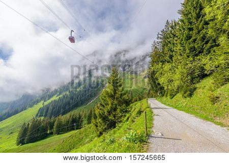 Cable car approach to the top of Pilatus mountain from Luzern. Switzerland.