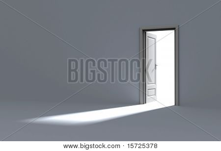 Inside a room with opened door