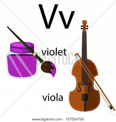 Illustration of v vocabulary with violet and viola