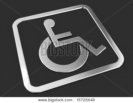 Universal wheelchair access symbol. Chrome on balck.