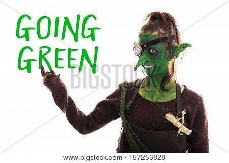 Green Goblin Pointed Of Text Going Green, Sustainable Development