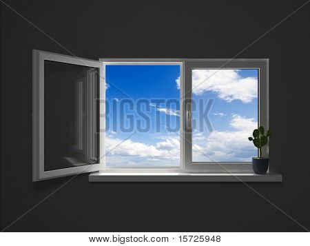 windows to another world. dark room concept