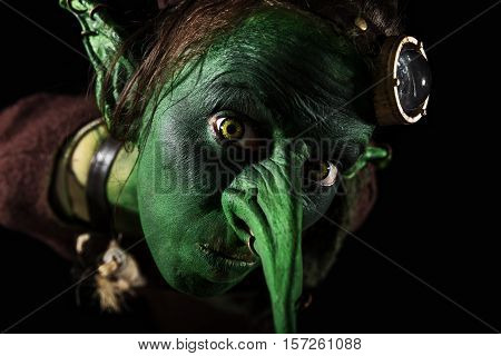 Closeup, Green Female Goblin With A Long Nose And Freaky Ears
