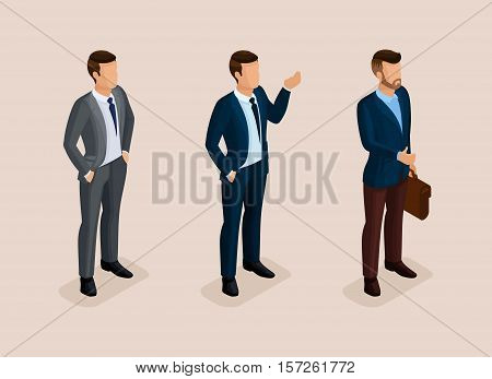 Isometric quality people with the study of details. Set business hipsters hairstyle, beard, mustache. Style modern businessman commits acts. Vector illustration.