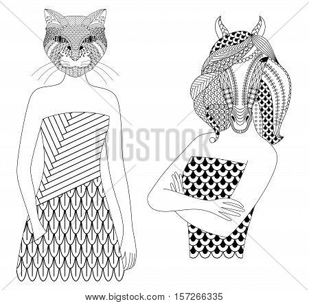 Fashion cat and horse woman. Coloring book for adults, vector illustration, isolated on a white background.