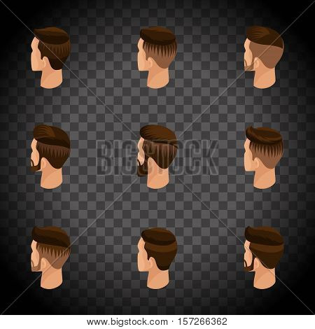 Isometric set of avatars, men's hairstyles, hipster style. Laying, beard, mustache. Modern, stylish hairstyle, rear view on a transparent background. Vector illustration.