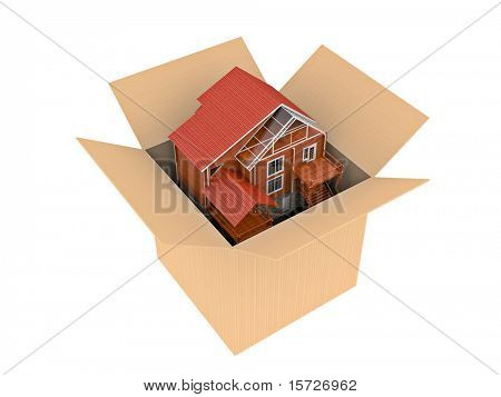 Purchase of the new house - photorealistic render - Cardboard edition