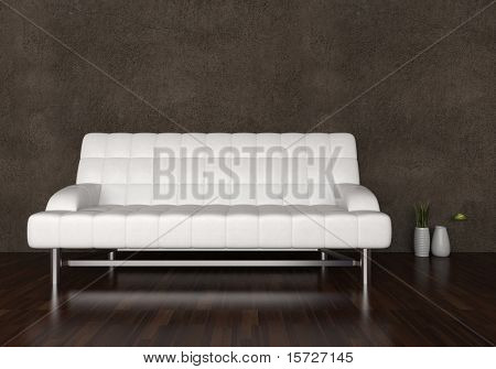 White leather sofa in interior