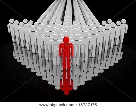 People form up in arrow reflected on floor - isolated