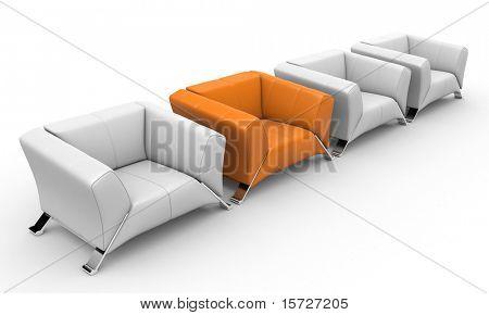 Conceito de negócio de poltronas - sala de reuniões-