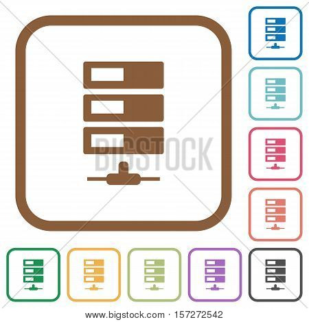 Data network simple icons in color rounded square frames on white background