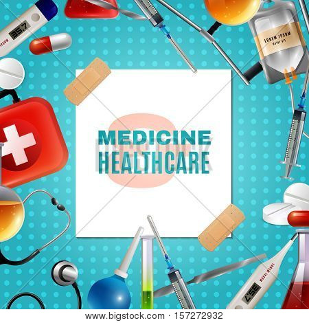 Medical accessories and healthcare products frame composition background poster with first aid kit and pills vector illustration