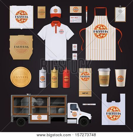 Fast food restaurants chain corporate identity templates set with pepperoni pizza design on black background vector illustration