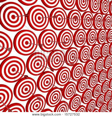Row Red and White target with arrow - isolated on white