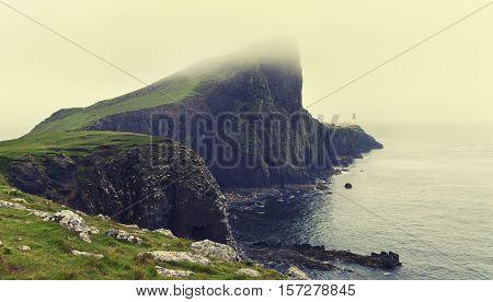 Niest Point on Isle of Skye in heavy mist in artistic conversion
