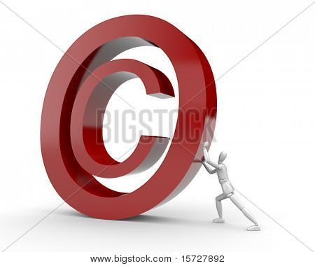 Man bring up Copyright symbol