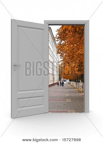 Door at autumn, isolated