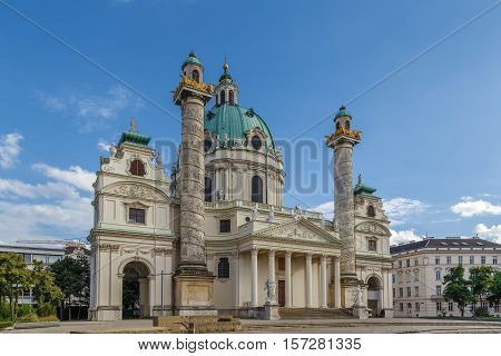 Karlskirche (St. Charles Church) has garnered fame due to its dome and its two flanking columns of bas-reliefs Vienna Austria