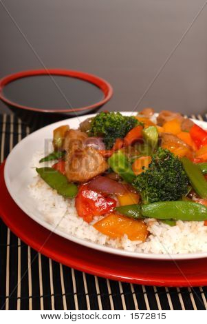 Vertical View Of Pork Stir Fry