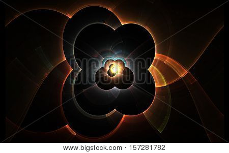 Illustration fractal abstract figure in the form of a flower with four petals in orange pattern around and multicolored figures inside and a bright glow on a black background.