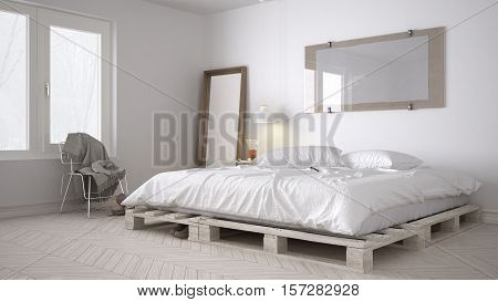 DIY bedroom scandinavian white eco chic design, 3d illustration