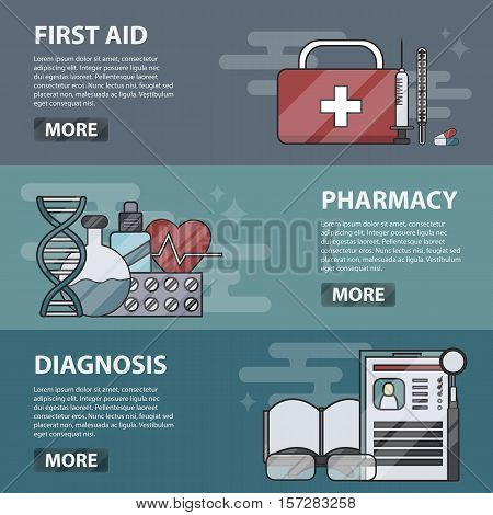 Vector thin line design horizontal banners of first aid, pharmacy and diagnosis for websites. Business concept of medical science, doctor profession, treatment and healthcare. Set of medicine icons.