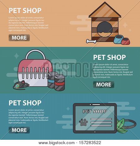Vector thin line design horizontal banners of pet shop for websites. Business concept of veterinary and animal store. Set of pet accessories.