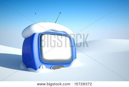 Stylish retro TV in snow wit blank screen. easy editable image for you design
