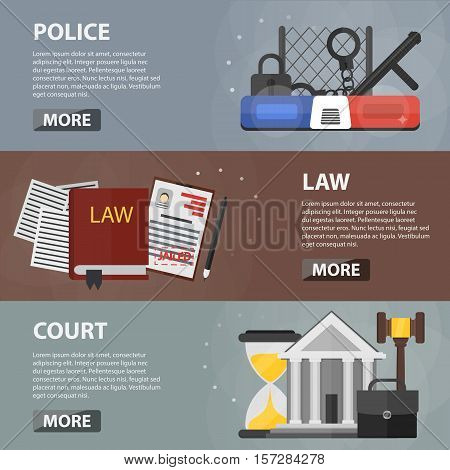 Vector flat horizontal banners of police, law and court for websites and apps. Business concept of police department station, social protection and security. Set of law and order elements.