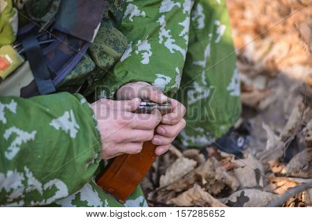 Russian Soldiers Charging Machine