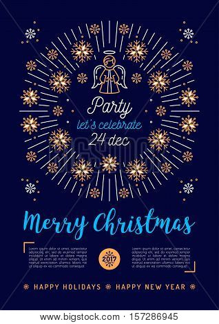 Christmas poster, Holiday Xmas party flyer A4 size. Christmas religious placard. Mono thin line art, Golden snowflakes and sun bursts or bursting rays. Christmas angel. Minimal design, Vector isolated
