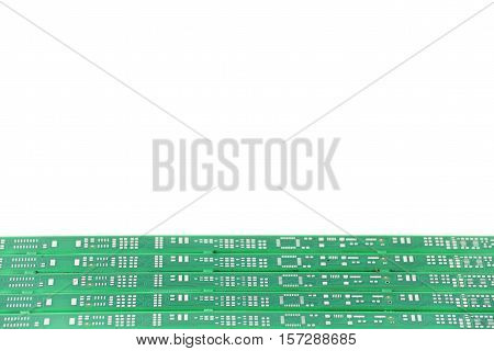 Green PCB isolated on a white background