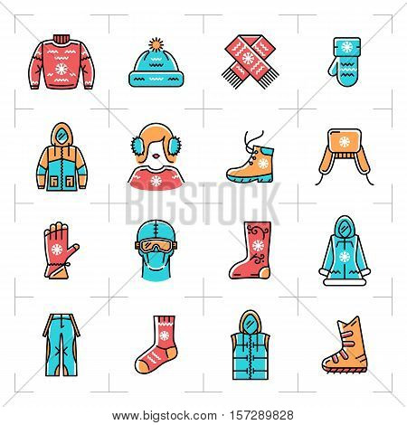 Vector winter clothes vector isolated line icons set. Colorful outline logos, Clothing for winter recreation, sports, snowboarding, ski and ice skating. Minimal thin line art style, Vector