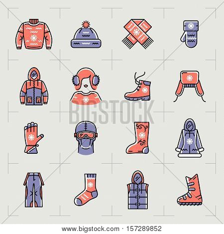 Trendy winter clothes isolated line icons set. Outline sportswear icons, sport, snowboarding. Retro color palette, thin line art fashion winter clothing symbols. Vector illustration