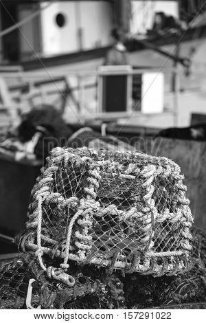 Old vintage handmade rope lobster pot used in fishing industry