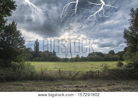 Alternate Solar Power Concept Landscape Image Of Lightning Hitting Electricity Pylon