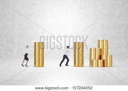 Side view of businesspeople pushing large stacks of coins near a concrete wall. Concept of money making. Mock up