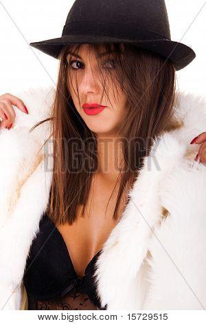 Sexy Model Wearing Winter Fur