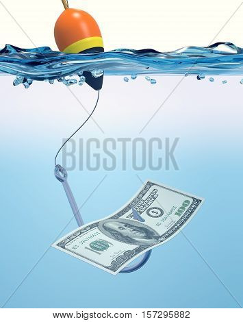 Fish Hook With A Banknote